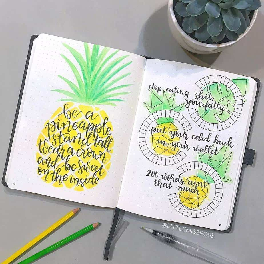pineapple design bujo idea - healthy eating and savings spread