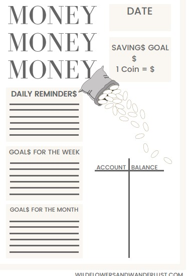 bujo idea - savings printable