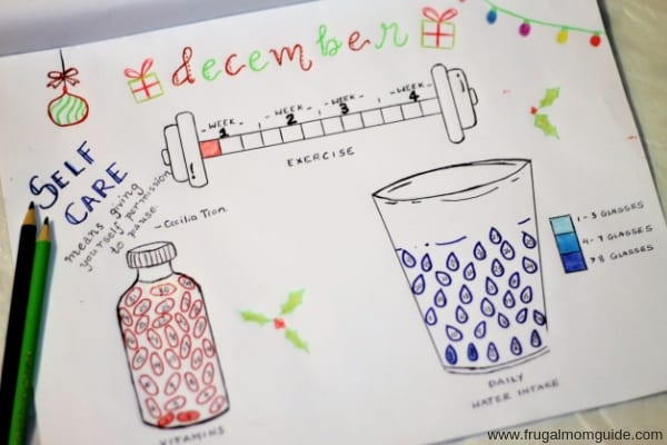 self care bullet journal idea to track exercise, vitamins and water intake