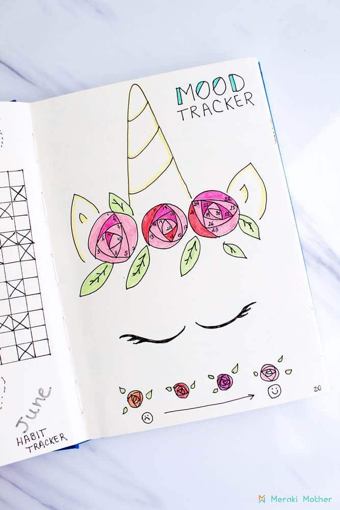 bullet journal ideas - unicorn themed mood tracker