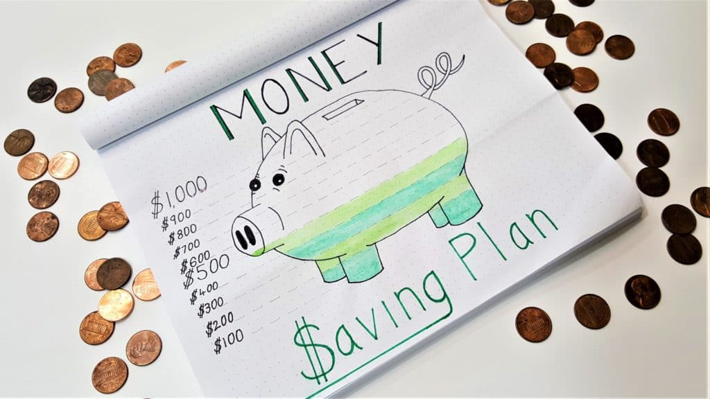 Bullet journal spread ideas - doodle of a piggy bank