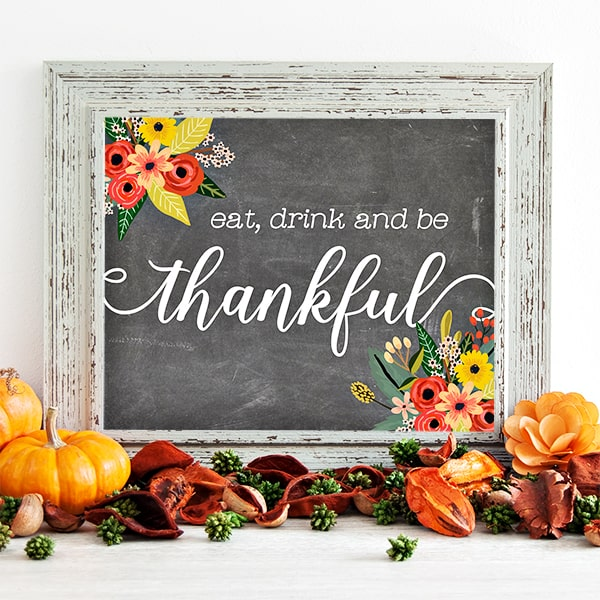 DIY Fall Decor Projects - Thanksgiving Printable