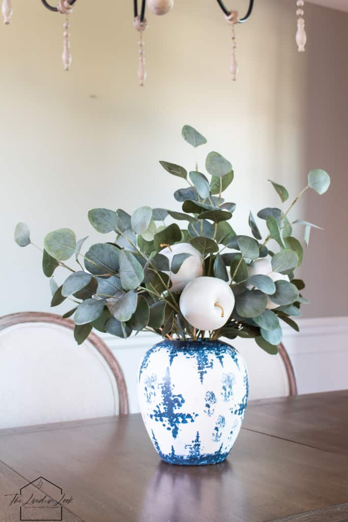 fall decor - blue and white vase with faux apples