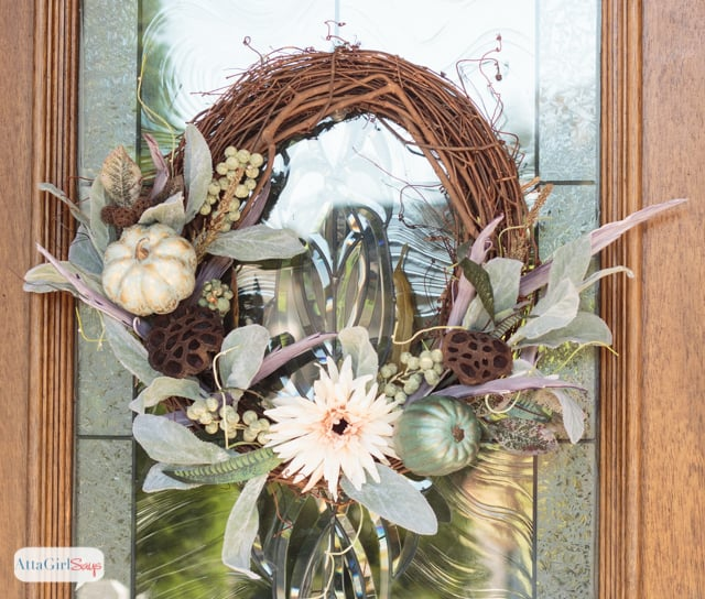 DIY Fall Decor Projects - Grapevine and Pumpkins Fall Wreath