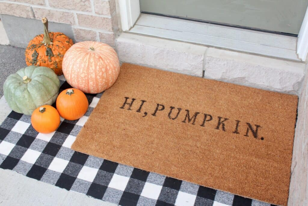 printed fall doormat in front porch diy fall decor