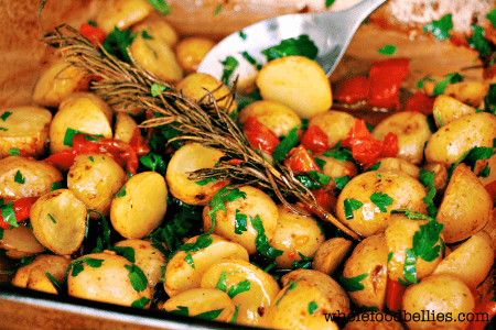 mini potatoes in dish - cheap thanksgiving sides
