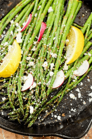 asparagus and other ingredients in pan