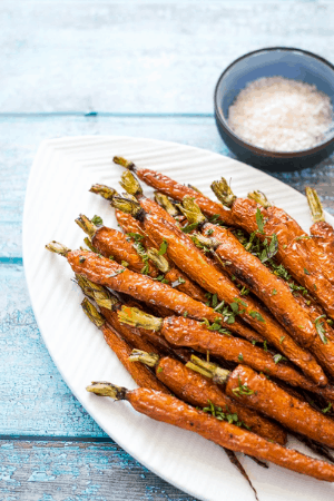 roasted carrots on platter - thanksgiving recipes
