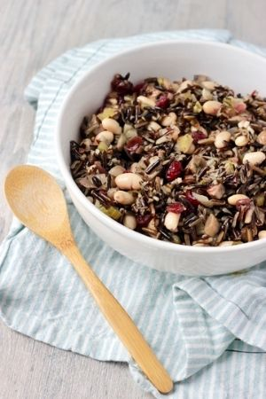 wild rice stuffing in bowl