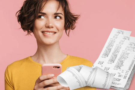 woman on phone with receipts to get free paypal money instantly